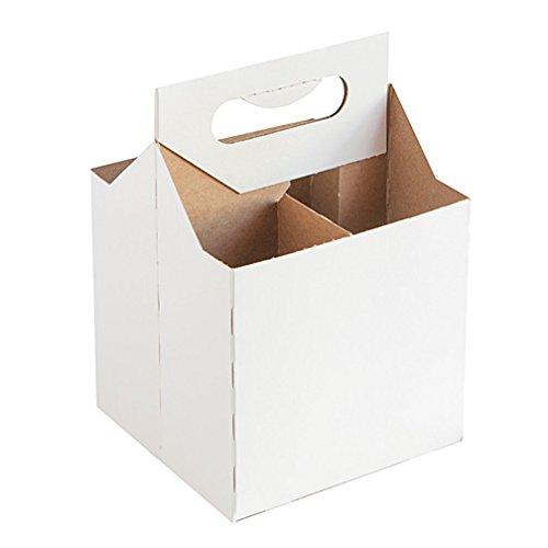 - 12 Oz Cardboard 4 Pack Beer Bottle Carrier White Weather Proof!4 Per Order