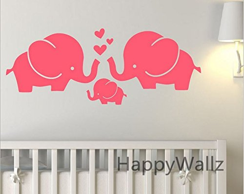 Elephant Decal Set - Kids Pink Elephant safari Wall Stickers Wall Decals for Kids Baby Boy's Rooms Nursery