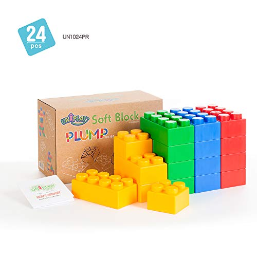 UNIPLAY Jumbo Soft Building Blocks - Plump Series (24pcs), Educational and Creative Toys, 100%Safe for Kids, Toddlers, Baby, Preschoolers