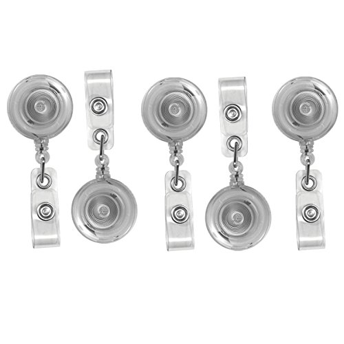 Translucent Retractable ID Badge Reels with Belt Clip - 5 Pack, by Specialist ID