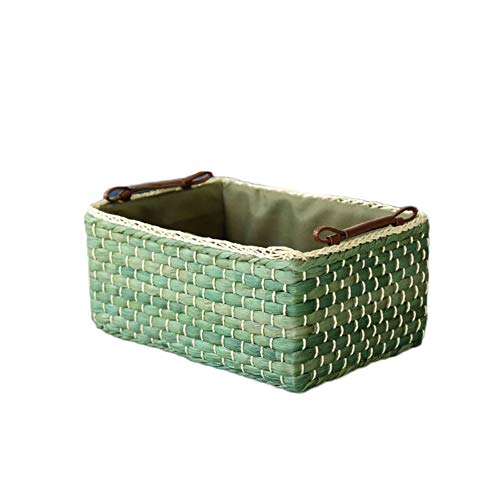 Hand-Woven Wicker Basket,Desktop Cosmetics Storage Box Toy Underwear Storage Finishing Grass Rattan Basket-Green ()
