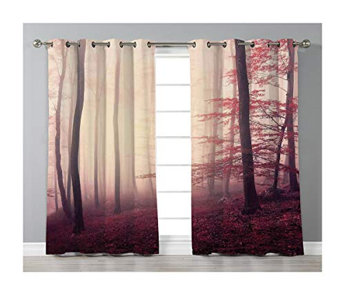 Goods247 Blackout Curtains,Grommets Panels Printed Curtains for Living Room (Set of 2 Panels,52 by 63 Inch Length),Woodland ()