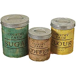 Set of 3 LARGE Nesting Round Metal Country Farms Sugar Flour and Coffee Kitchen Canisters with Lids Vintage Antique Style