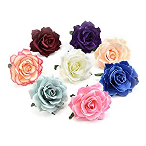 Fake Flowers Heads Big Silk Blooming Roses Artificial Flower Head for Wedding Decoration DIY Party Festival Home Decor Wreath Gift Scrapbooking Craft Flower 8pcs/lot 10cm 53