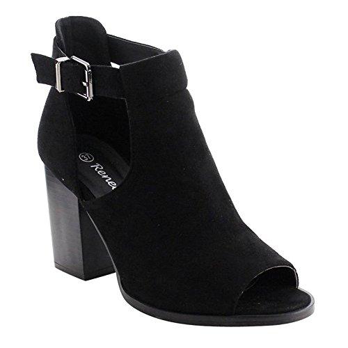 Reneeze AF79 Women's Cut Out Chunky Heel Buckle Heels Sandals, Color Black, (Chunky Heel Buckles)