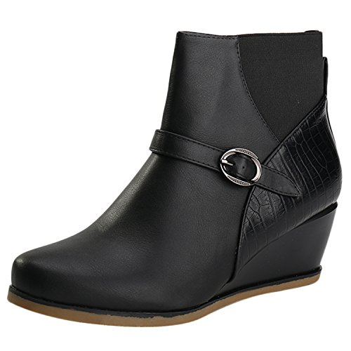 Alexis Leroy Damen Ankle Boots Winterstiefel mit Keilabsatz Hochwertige Damen Booties Stiefeletten Schwarz