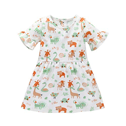 Jchen(TM) Kids Baby Girls Animals Print Short Sleeve Party Princess Beachwear Casual Ruffle Playwear Dress for 1-5 Y (Age:4-5 Years, White) -