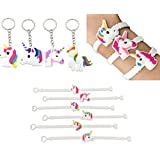 (Set of 37) 25pcs Magical Unicorn Party Novelty Toy Wristband +12pcs Unicorn Keychains Party Favors,for Kids Birthday Party ,Novelty Toys and School Classroom Rewards