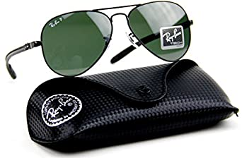 Ray-Ban RB8307 002/N5 Carbon Fiber Polarized Aviator Black / Crystal Polar Green G-15 Lens Sunglasses 58mm