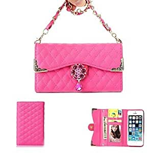 JAJAY Flowers And Diamond Alloy Necklace Wrist Strap Full Body Leather Wallet Pouch Case for iPhone 5C (Assorted Colors) , Red
