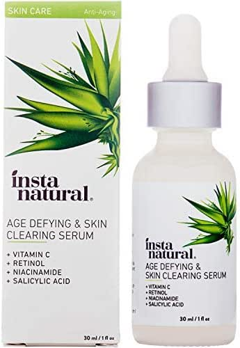 InstaNatural Vitamin C Anti Aging Skin Clearing Serum - Wrinkle, Cystic Acne, Fine Line, Pigmentation, Pore Minimizer & Dark Spot Corrector for Face - Retinol, Hyaluronic, & Salicylic Acid - 1oz