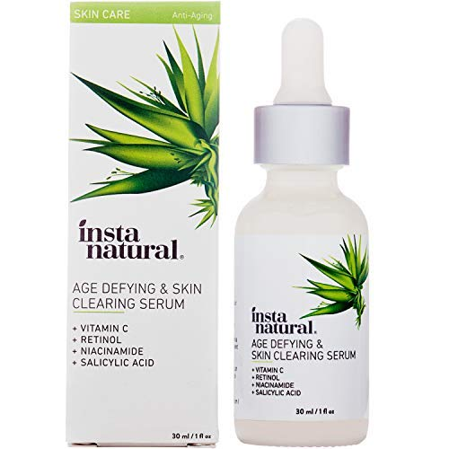 InstaNatural Vitamin C Anti Aging Skin Clearing Serum - Wrinkle, Cystic Acne, Fine Line, Pigmentation, Pore Minimizer & Dark Spot Corrector for Face - Retinol, Hyaluronic, & Salicylic Acid - 1oz (Best Primer For Fine Lines)