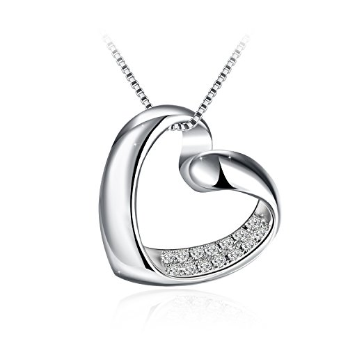"""Necklace, 925 Sterling Silver Heart Pendant Necklace J.Rosée Fine Jewelry for Women """" My Heart"""", 18"""" + 2"""" Extender, Ideal Christmas Gift for Mom Wife Girlfriend"""