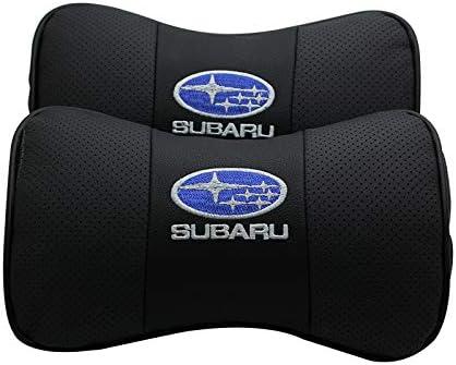 Fit Subaru car sales 2 PCS Genuine Leather Bone-Shaped Car Seat Pillow Neck Rest Headrest Comfortable Cushion Pad with Logo Pattern