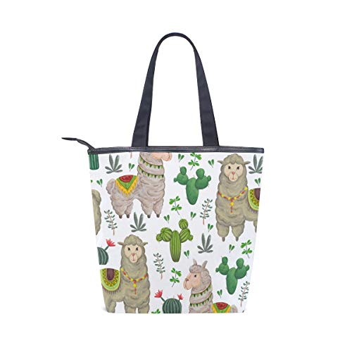 Llama Jeansame Top Borse Canvas Vintage Spalla Bag Cammello Borsa A Tote Handle Cactus Shopping AwfPnrxAIq