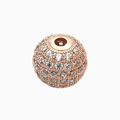 NBEADS 1PCS 6mm Brass Clear Gemstones Cubic Zirconia Bead Rose Gold Color Micro Pave Setting Disco Ball Spacer Bead Round Bracelet Connector Charm Bead for Jewelry Making ()