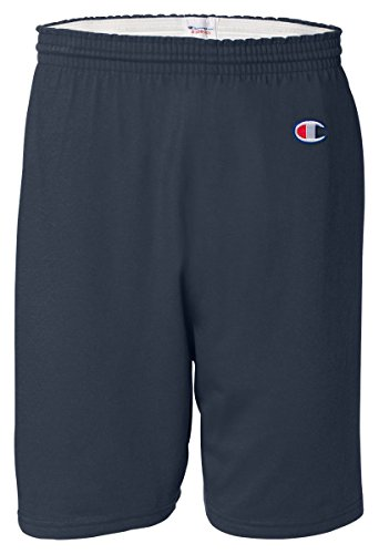 Mens Cotton Jersey Short (Champion Men's  6-Inch Navy   Cotton Jersey Shorts - Large)