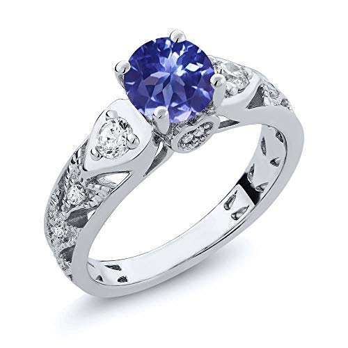 Gem Stone King Sterling Silver Blue Tanzanite Women's Engagement Ring (2.16 cttw Round Cut Available 5,6,7,8,9) (Size 6)