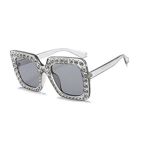 MINCL/Oversized Diamond Sunglasses Women Handmade Square Glasses Frame Eyewear 67mm UV400 - Diamond Face Glasses Female For