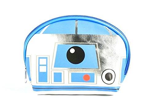 Disney Star Wars R2D2 Blue White Silver Patent Makeup Cosmetic Bag