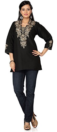 Indian Kurti Embroidered Womens Embroidered Blouse India Clothes (Black, L) (Black Embroidered Blouse)