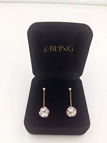 Sbling 18K plaqué or rose Oxyde de Zirconium Pendants d'oreilles (5carat au total)