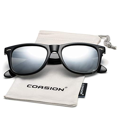 COASION Classic Polarized Sunglasses for Men Women Retro UV400 Brand Designer Sun Glasses (Bright Black Frame/Silver Mirror Lens) ()