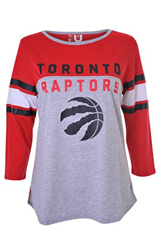 NBA Toronto Raptors Women's T-Shirt Raglan Baseball 3/4 Long Sleeve Tee Shirt, Medium, Gray