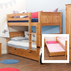 Stompa Classic Kids Honey Pine Bunk Bed With Trundle Bed Including