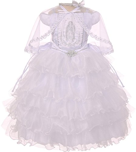 Off Shoulder Sleeves Virgin Mary Embroidered Little Girl Baptism Dresses (4T1R1K) White 6 by BluNight Collection