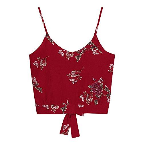 Limsea Women's Self Tie Back V Neck Print Floral Crop Cami Top Camisole ()
