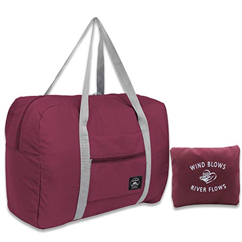 (FUNFEL Travel Foldable Duffel Bag for Women & Men, Waterproof Lightweight travel Luggage bag for Sports, Gym, Vacation (II-Wine Red))