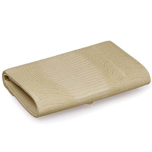 BMC funda de piel sintética Alligator para mujer estampado de piel de purpurina solapa de Metal Accent piñón libre gris - Pale Khaki