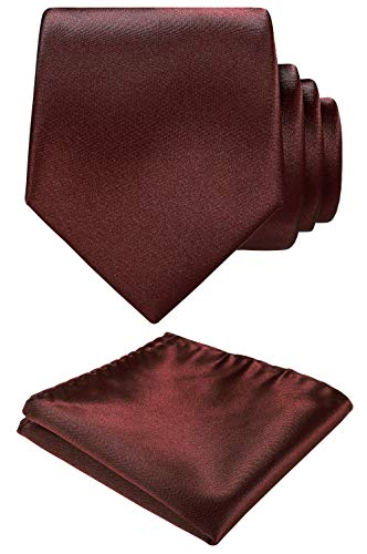Solid color Neck tie.Pocket Square,Gift Box set. (Burgundy)