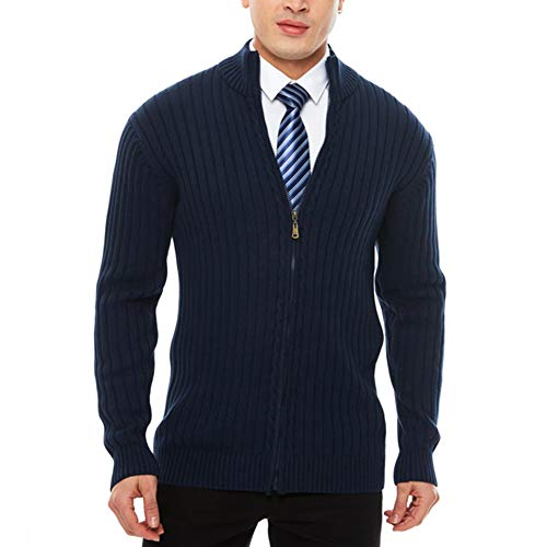 Knitted Zipper - APRAW Men's Casual Slim Fit Sweaters with Zipper Cotton Knitted Cardigan Dark Blue