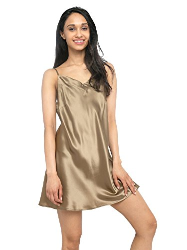 MYK 100% Mulberry Silk Slip Dress, Luxury Chemise Nightgown with Spaghetti Strap for Women, Gift Boxed, M, Caramel