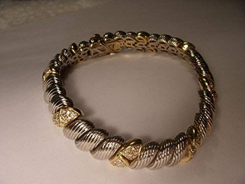 - Italian Estate 18K 2-Tone Two-Tone Gold 1 One CT Carat Diamond Heart Bracelet