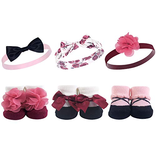 Hudson Baby Headband and Socks Set, 6 Piece, Burgundy Floral