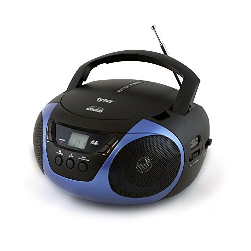 Tyler Portable Sport Stereo CD Player TAU101-BL with AM/FM Radio and Aux & Headphone Jack Line-In (Blue)