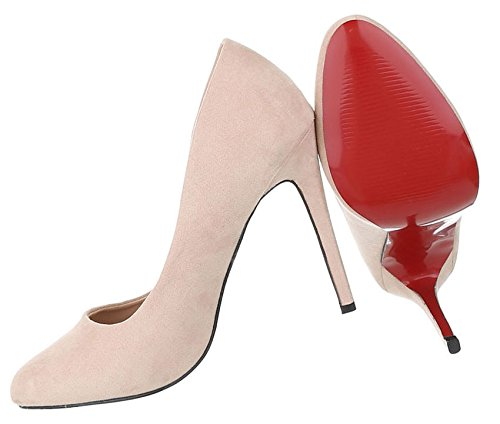 Damen Pumps Schuhe Elegant High Heels Beige