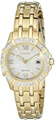 Citizen Eco-Drive Women's 'Diamond' Quartz Stainless Steel Casual Watch, Color: Gold-Toned (Model: EW2362-55A)