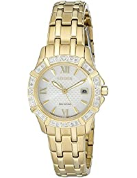 Womens Eco-Drive Stainless Steel Diamond Accented Watch with Date, EW2362-55A