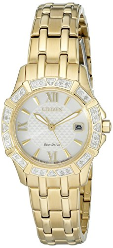 Citizen Women's Eco-Drive Stainless Steel Diamond Accented Watch with Date, EW2362-55A (Drive 55a Eco Citizen)