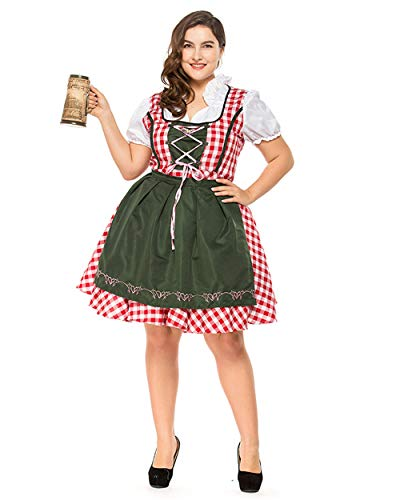 COUTUDI Women England Red-White Plaid Dress Beer Maid Costume Plus Size -