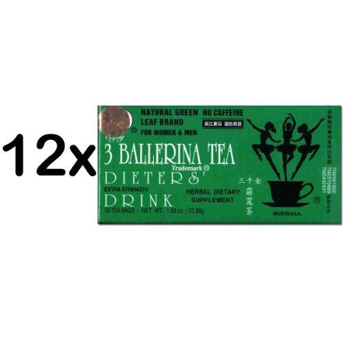 Dieta 3 ballerina Tea Extra Strength para hombres y mujeres (12 cajas x 18 bolsas)