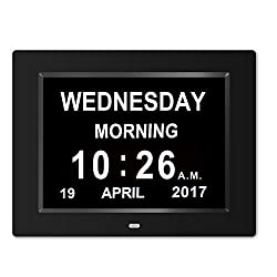 Digital Clock Wall clock -The Original Memory Loss Digital Calendar Day Clock with Extra Large Non-Abbreviated Day & Month.8 Clock Perfect For Visually Impaired Senior Living Offices Home