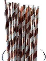 Cheapest Party Supplies (Rose Gold Copper Foil Stripes Paper Straws-High Class Paper Straws for Parties, Weddings, Baby Showers & More: Party Disposable Straws (75 Straws))