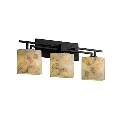 Justice Design Group ALR-8703-30-NCKL Alabaster Rocks! Collection Aero 3-Light Bath Bar