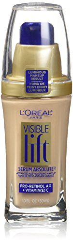 L'Oréal Paris Makeup Visible Lift Serum Absolute Foundation, lightweight anti-aging foundation, won't settle into lines or wrinkles, skin is even, smoother, firmer, brighter, Nude Beige, 1 fl. oz.