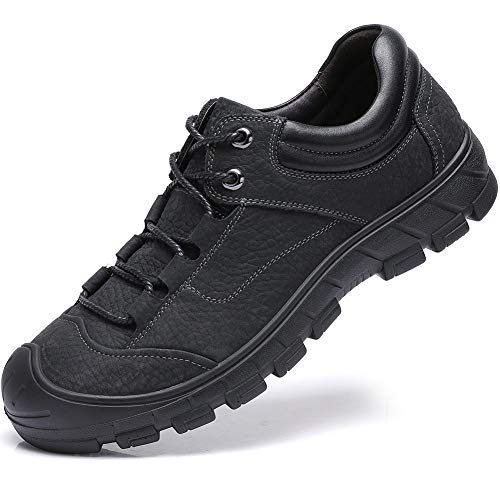 Mens Anti-Slip Leather Hiking Shoes, Waterproof Outdoor Soft Sneaker for Trekking,Walking,Daily Wear  Price: $59.99